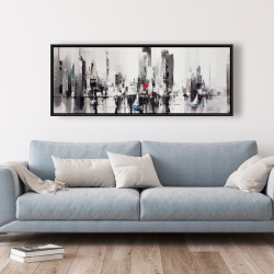 Framed 20 x 60 - Abstract boats with cityscape