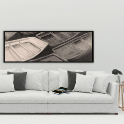 Framed 20 x 60 - Small canoes of style sepia