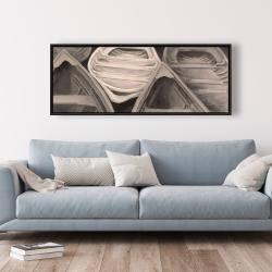 Framed 20 x 60 - Sepia canoes