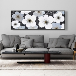 Framed 20 x 60 - Gray flowers