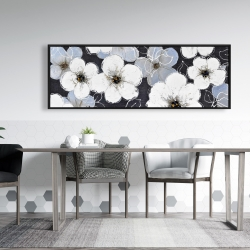 Framed 20 x 60 - White flowers with leaves outlines