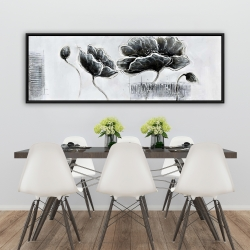 Framed 20 x 60 - Industrial style grayscale flowers