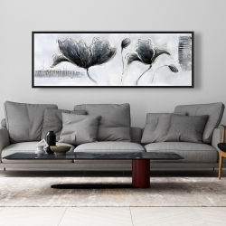 Framed 20 x 60 - Industrial style flowers