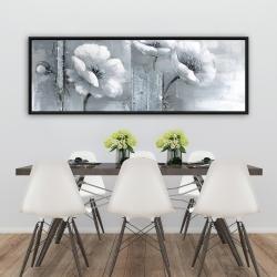 Framed 20 x 60 - Gray & white flowers