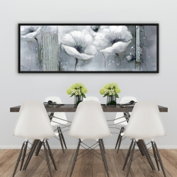 Framed 20 x 60 - Grayscale flowers