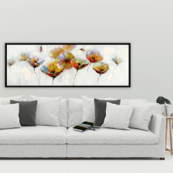 Framed 20 x 60 - Color dotted flowers