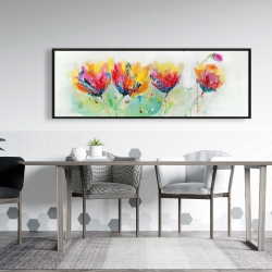 Framed 20 x 60 - Four colorful flowers