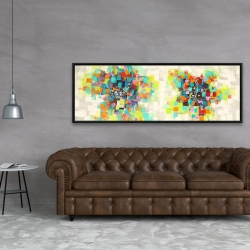 Framed 20 x 60 - Flowers made of squares