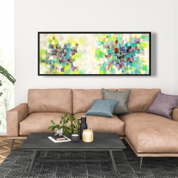 Framed 20 x 60 - Abstract squares flowers