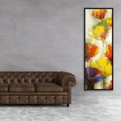 Framed 20 x 60 - Modern yellow flowers