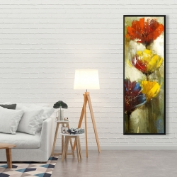 Framed 20 x 60 - Orange and yellow flowers