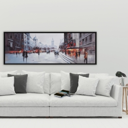 Framed 20 x 60 - Street scene with cars
