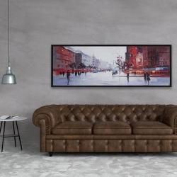 Framed 20 x 60 - Black and red street scene