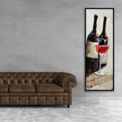 Framed 20 x 60 - Two bottles with a glass of wine