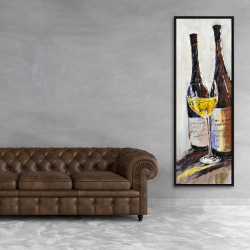 Framed 20 x 60 - Two bottles with a glass of white wine