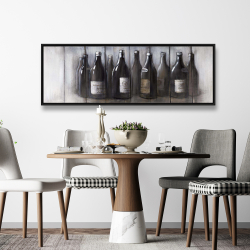Framed 20 x 60 - Bottles of wine with wood finish