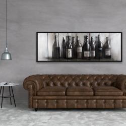 Framed 20 x 60 - Bottles of wine on wood