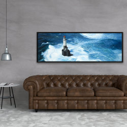 Framed 20 x 60 - Unleashed waves on a lighthouse
