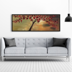 Framed 20 x 60 - Red flowers tree