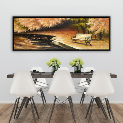 Framed 20 x 60 - Park bench by fall