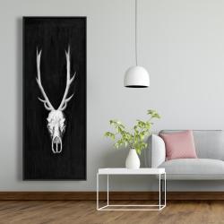 Framed 20 x 60 - Deer skull on black background