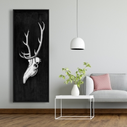 Framed 20 x 60 - Deer skull in the dark