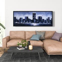 Framed 20 x 60 - Dark blue cityscape