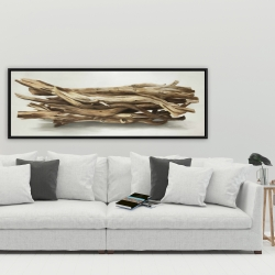 Framed 20 x 60 - Floated wood left by the sea