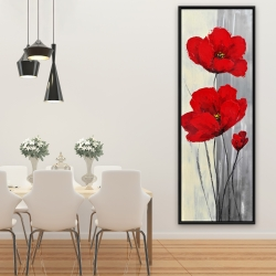 Framed 20 x 60 - Red flowers on a gray background