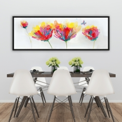 Framed 20 x 60 - Colorful flowers with a butterfly