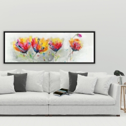 Framed 20 x 60 - Four colored flowers on gray background