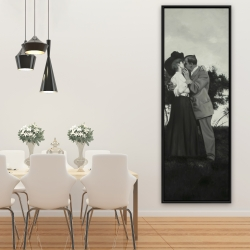 Framed 20 x 60 - Vintage couple kissing