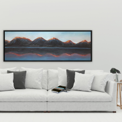 Framed 20 x 60 - Mountains and calm lake