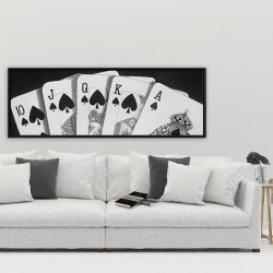 Framed 20 x 60 - Black and white card game