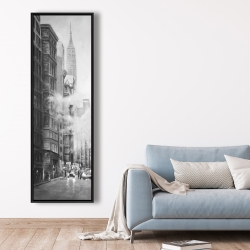 Framed 20 x 60 - Morning in the streets of new-york city monochrome