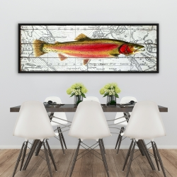 Framed 20 x 60 - Pink trout on a map