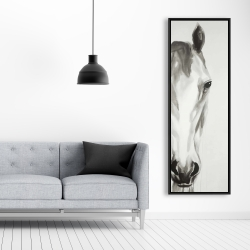 Framed 20 x 60 - Black & white horse face