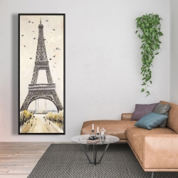 Framed 20 x 60 - Eiffel tower with flying birds