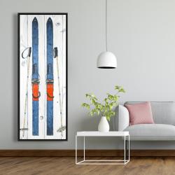 Framed 20 x 60 - Vintage blue ski