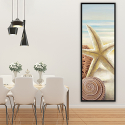 Framed 20 x 60 - Starfish and seashells at the beach