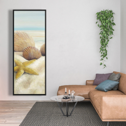 Framed 20 x 60 - Starfish and seashells view on the beach