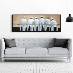Framed 20 x 60 - Cooks chefs working together