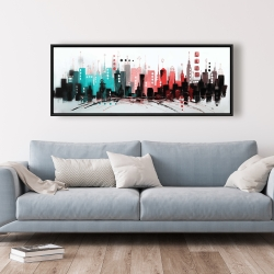 Framed 20 x 60 - Cityscape with rose gold colors
