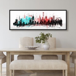 Framed 20 x 60 - Colorful city with rose gold lines