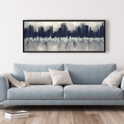 Framed 20 x 60 - City by sponge technique