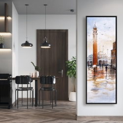 Framed 20 x 60 - City sketch with a tower