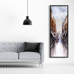 Framed 20 x 60 - Watercolor style busy street