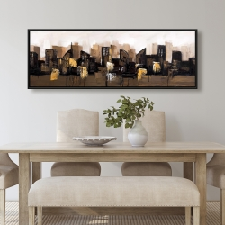 Framed 20 x 60 - Brown abstract cityscape