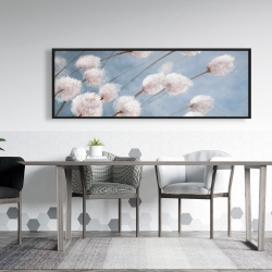 Framed 20 x 60 - Delicate cotton flowers