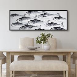 Framed 20 x 60 - Gray school of fish 1